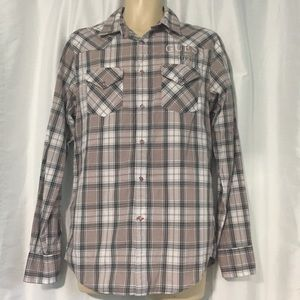 Guess Men's Size S NWT Plaid Western L/S Shirt